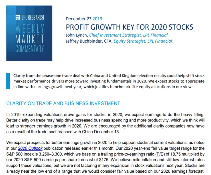 Profit Growth Key for 2020 Stocks | Weekly Market Commentary | December 23, 2019