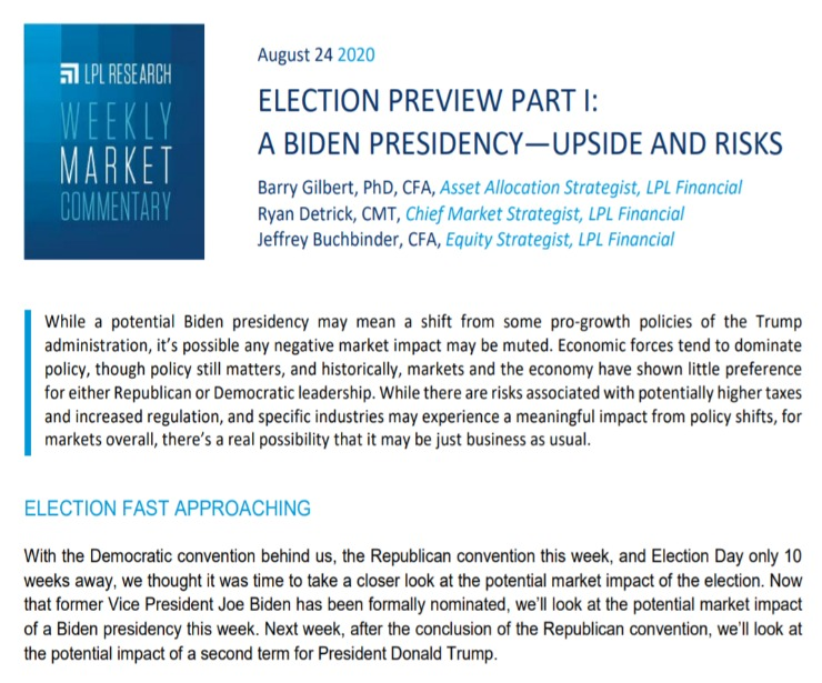 A Biden Presidency: Upside and Risks | Weekly Market Commentary | August 24, 2020