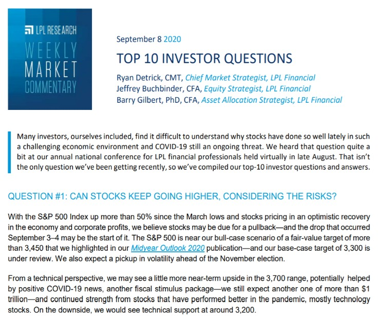 Top 10 Investor Questions | Weekly Market Commentary | September 8, 2020