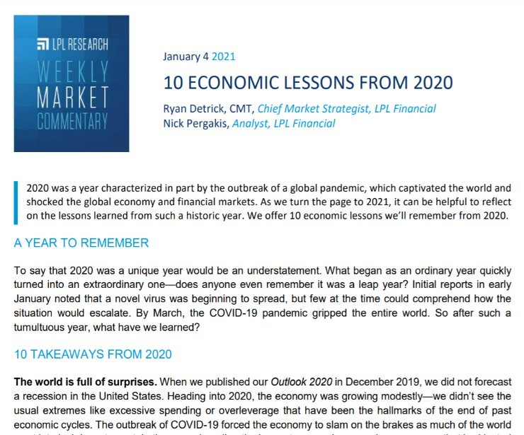 10 Economic Lessons from 2020   Weekly Market Commentary   January 4, 2021