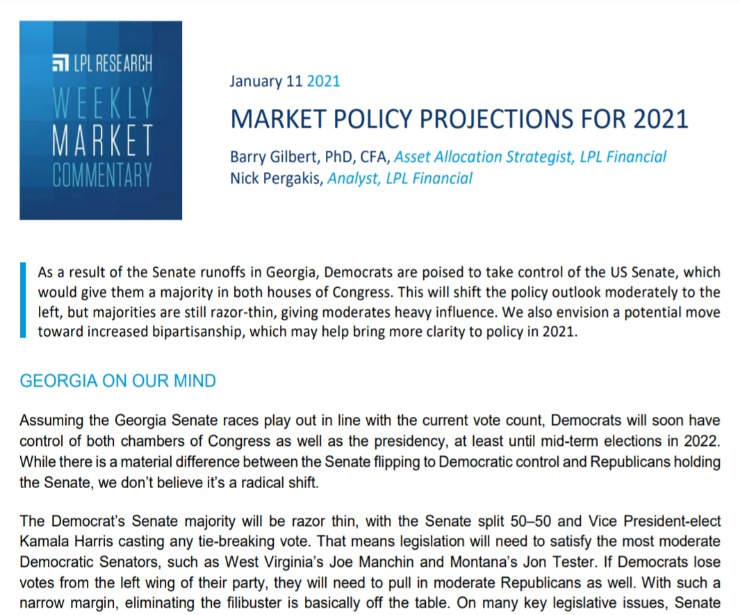 Market Policy Projections for 2021   Weekly Market Commentary   January 11, 2021
